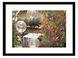 Beautiful Christmas flowers arrangement - Solid Wood Picture Frame Art Print (20x14 inches) Sale