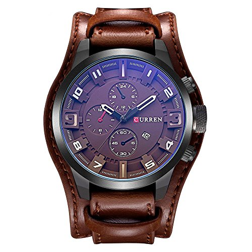 CURREN Original Men's Sports Waterproof Leather Strap Date Wrist Watch Good Quality 8225 All Brown