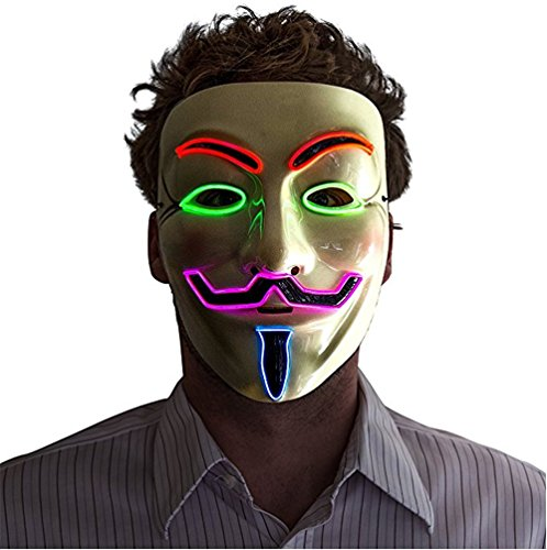 [Alohaa Halloween Mask, Men's Light Up V for Vendetta, Guy Fawkes Mask, One Size(four colors)] (Anonymous Man Costume)