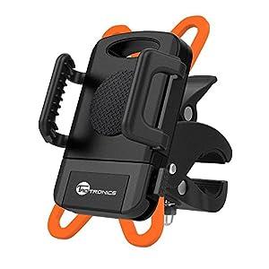 Soporte Móvil Bicicleta TaoTronics con montaje en la horquilla para Smartphone, GPS y otros dispositivos (un solo botón es necesario para desmontar, giratorio360grados, correa de caucho)