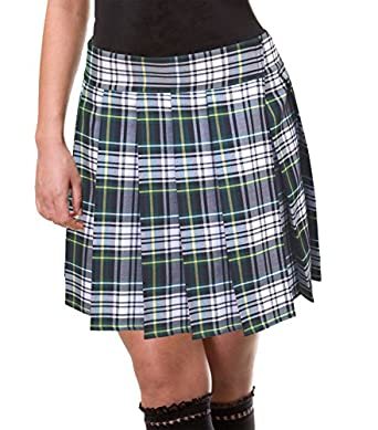 green white tartan plaid pleated skirt