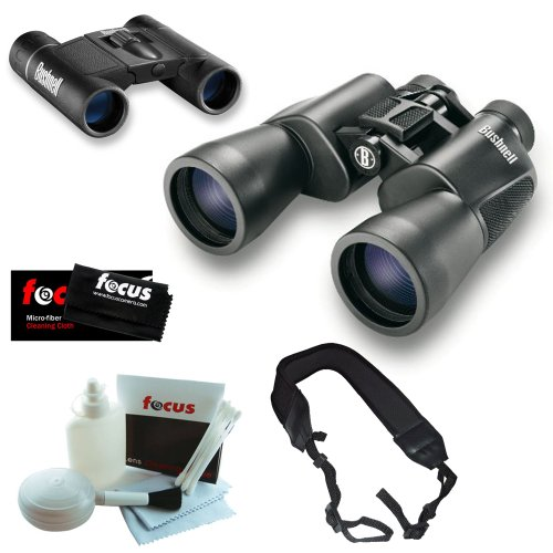 Bushnell 20X50 Powerview Super High-Powered Surveillance Binoculars + Powerview 8X21 Folding Roof Prism Binoculars + Wide Strap + 5 Piece Deluxe Cleaning And Care Kit + Micro Fiber Cleaning Cloth
