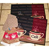 2 18 x 26 Coffee Rugs with 2 Matching Dish Towels Oven Mitt and Pot Ho