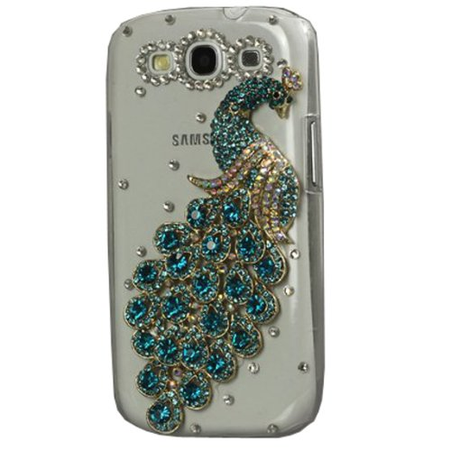4C Rhinestone & Diamond Bling (Blue/Topaz) Peacock Crystal Clear Case For Samsung Galaxy S3/Iii I9300