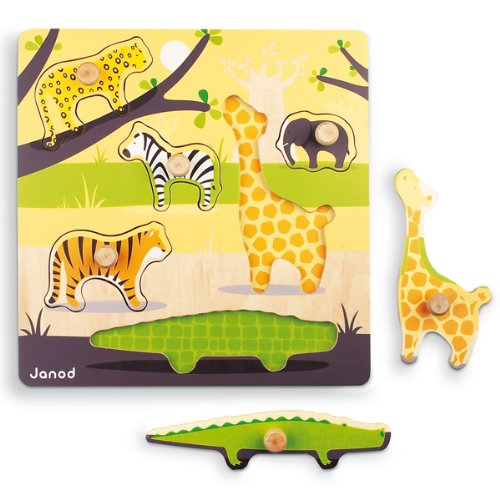 Janod Savannah Wood Peg Puzzle 6pcs.