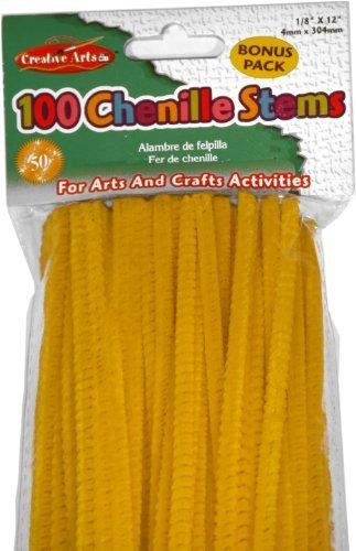 Twist Into Any Shape - Charles Leonard Chenille Stems, 4 Mm x 12 Inch, Yellow, 100/Bag (65440)