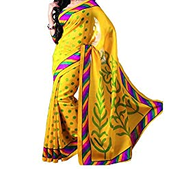 RGR Enterprice Woman's Bhagalpuri Designer Saree (Yellow print_Multi-Coloured_Free Size)