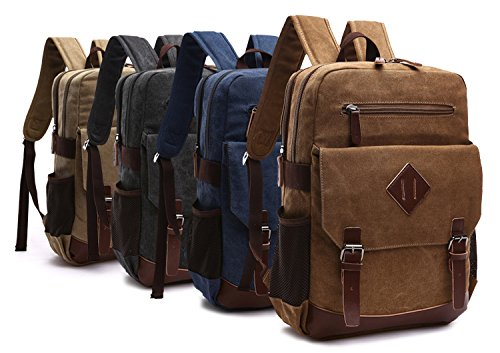 Kenox Mens Large Vintage Canvas Backpack School Laptop Bag Hiking Travel Rucksack 3