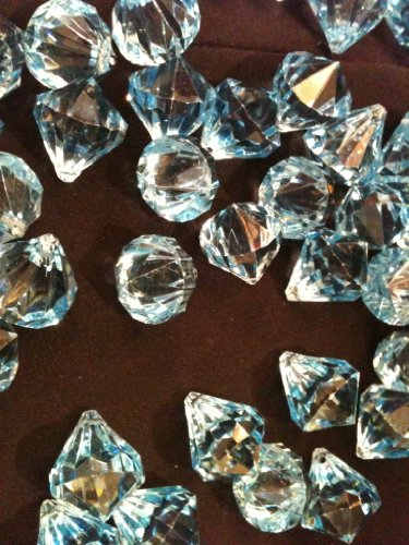 Tanday Light Blue Acrylic Diamond Hanging Crystal Ornament (100 pieces 1″) for Manzanita or Christmas Tree & clear string.