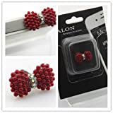 Big Dragonfly Crystal Bead Bowknot 3.5mm Headphone Jack Accessory Anti Dust Plug Cap for iPhone 5 iPhone 4 4s ,iPad ,iPod Touch 5,Samsung Galaxy S3 S4 Note Note 2,HTC Dark Red