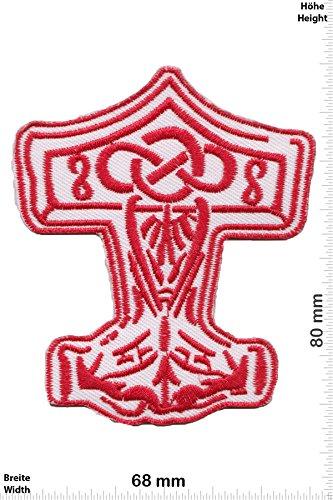 Patch - Mjölnir - red - Viking - Thor Hammer - Loki Odin - Musicpatch - Rock - Vest - Iron on Patch - toppa - applicazione - Ricamato termo-adesivo - Give Away