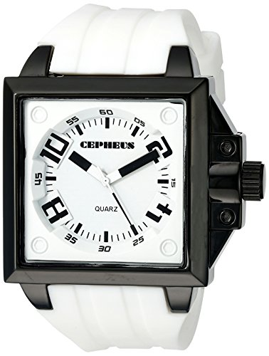 Cepheus Men's Quartz Watch with White Dial Analogue Display and White Silicone Strap CP904-676