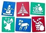 6 Washable Plastic Christmas Stencils