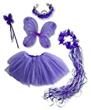 Girls Purple 5 Pc Butterfly Set with Reversible Tutu & Tiara