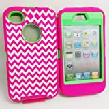 Multi Color DELUXE Chevron Wave Zebra Hybrid Rubber Silicone Cover Case For iPhone 4 4S 4G, Chevron Wave Zebra Print Hard Soft High Impact Hybrid Armor Case Combo for iPhone 4 4S 4G, Hybrid 3 PIECE ZEBRA Wave HARD PROTECT CASE COVER SKIN FOR iPhone iPhone 4 4S 4G (Chevron Pink+Green)