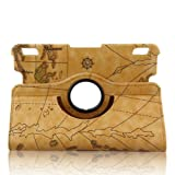 Generic Slim Lightweight PU Leather 360 Degree Rotating Auto Sleep/Wake Function 7 Inch 2013 Kindle Fire HDX Smart Carrying Case with Multi-angle Vertical and Horizontal Stand(with a Stylus as a Gift) --World Map Pattern,Yellow