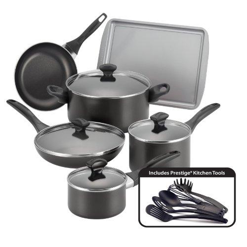 Farberware Dishwasher Safe Nonstick 15-Piece Cookware Set, Black