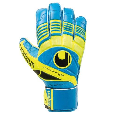 Uhlsport - Guanti da portiere per adulti Eliminator Soft, Blu (Ciano/giallo fluo/antracite scuro), 8.5