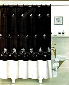 Polyester Shower Curtain Black/cream Flower 70 X 72