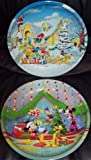 PMS Mickey Mouse & Minnie Mouse Christmas Nibble Tin Plates 26Cm Set Of 2