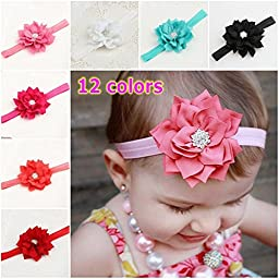 3PCS New Fashion Rhinestone Flower Baby Girls Hair Band Headband Infant Hair Accessories-Color Red