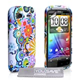 White / Multicoloured Floral Rainbow Pattern Silicone Gel Case Cover For The HTC Sensation / Sensation XE With Screen Protector Film And Grey Micro-Fibre Polishing Clothby Yousave