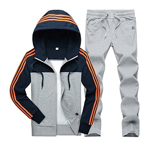 Real Spark(TM) Women Cotton Casual Zip Up Stripes Hoodie Pants Set Sportswear Couple Dresses Grey M