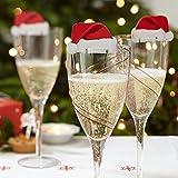 Lustige Weihnachtsdeko f�r Gl�ser / Weihnachtsmannm�tzen - Tischdekoration aus Karton x 10 - Party/Weihnachtsfeier - Weihnachtsfreude