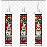 Flex Glue Strong Rubberized Waterproof Adhesive, 10-oz Pro Formula (3 Pack)