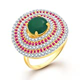 Amaal Rings For Girls ,Women Gold Plated In American Diamond Cz Jewellery FR0153