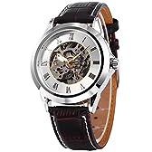 SHENHUA ローマ数字 メンズ スケルトン 自動巻き 自動機械式 アナログ レザー 腕時計PMW126