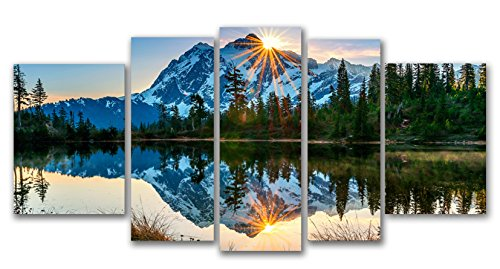 Startonight Glass Wall Art Acrylic Decor Set Mirror of the Mountains, 5 Stars Gift and a Contemporary Clock Set of 5 Total 35.43 X 70.87 Inch 100% Original Artwork the Ultimate Wall Art! (Colorful Initial Car Decals compare prices)