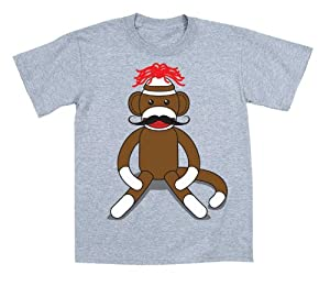 Sock Monkey Moustache - Toddler Shirt - ATHLETIC HEATHER - 2T
