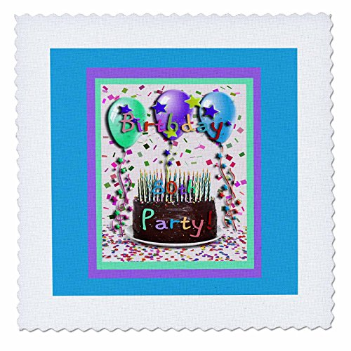 3dRose qs_20219_3 Birthday Party Chocolate Cake 80th Quilt Square, 8 by 8-Inch