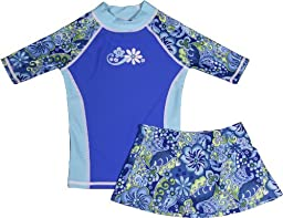 grUVywear UV Sun Protective (UPF 50+) Girls Short Sleeve Blue Paisley Shirt with Matching Skirt S 5-6