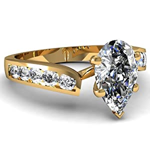0.80 Ct Pear Shaped Diamond Engagement Ring Channel Set SI2 F-Color GIA 14K
