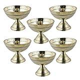 Set Of 6 - Handmade Indian Puja Brass Oil Lamp - Diya Lamp Engraved Design Dia - 2.2 Inch