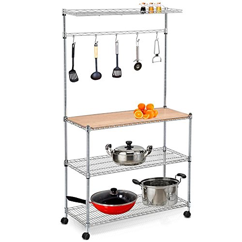 Yaheetech 61'' 4 Tiers Adjustable Kitchen Bakers Rack Kitchen Cart Microwave Stand Cutting Board Workstation (Industrial Microwave Stand compare prices)