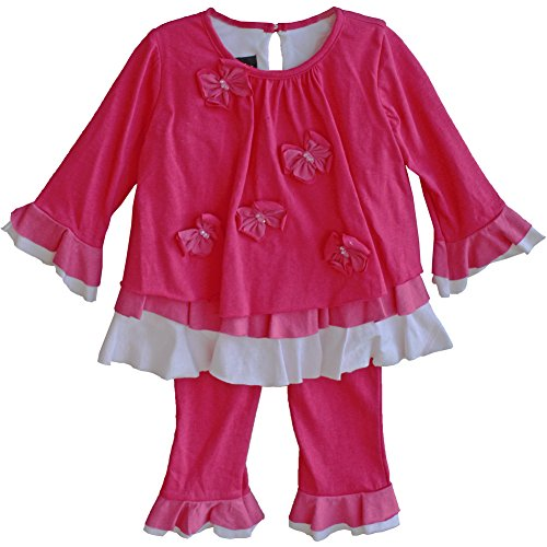 Isobella & Chloe Little Girls Hot Pink Ruffle Tunic Pants Outfit 2-4T