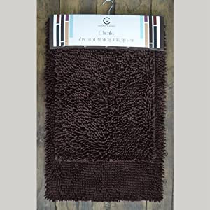 2 pc chocolate brown chenille high pile microfiber bath mat rug set 20 x32 and 17 for Chocolate brown bathroom rugs