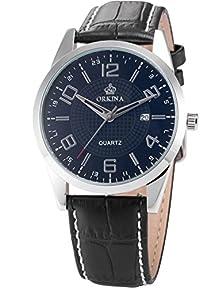 buy Orkina Mens Boyfriend Black Silver Date Sport Quartz Leather Wrist Watch Gift Ork057