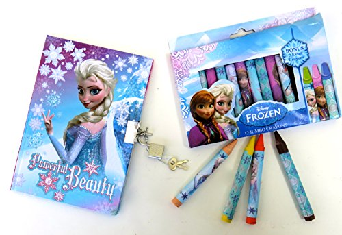 Disney Frozen Twelve Jumbo Crayons and a Disney Frozen Powerful Beauty Diary with a Lock and Two Keys