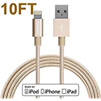 Iphone Charger, GOOLEEN 10ft/3M Lightning Cable Extra Long Nylon Braided USB Sync Charge Cable Cord For IPhone...