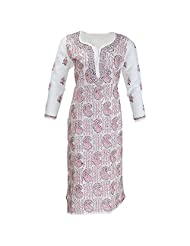 Lucknow Chikan Industry Women's Cotton Straight Kurti (White, 38 Inches)