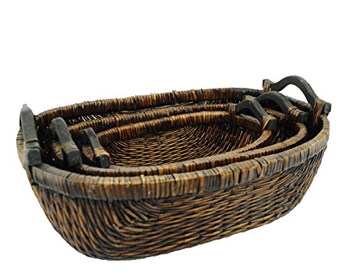 TOPOT Stitch Weave Oval Willow Basket with Walnut Finish & Wooden Ear Handles (Large Willow Basket With Handle compare prices)