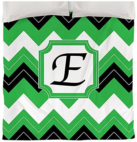 Thumbprintz Duvet Cover, Queen/Full, Monogrammed Letter E, Black Chevron front-472782