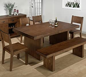 Jofran 252-75 Braeburn Rough Hewn Cherry 6 Piece Bench Dining Room Set