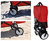 RED OUTDOOR SPORT FOLDING WAGON WITH CANOPY COVER GARDEN UTILITY TRAVEL CART LARGE ALL TERRAIN BEACH TIRES