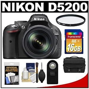 Nikon D5200 Digital SLR Camera & 18-105mm VR DX AF-S Zoom Lens (Black) with 16GB Card + Case + Filter + Remote + Accessory Kit