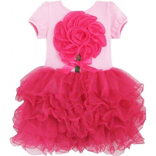 DH93 子供ドレス 女の子ドレス キッズドレス チュチュドレス フラワードレス ローズ ピンク ダンス パーティー 110cm